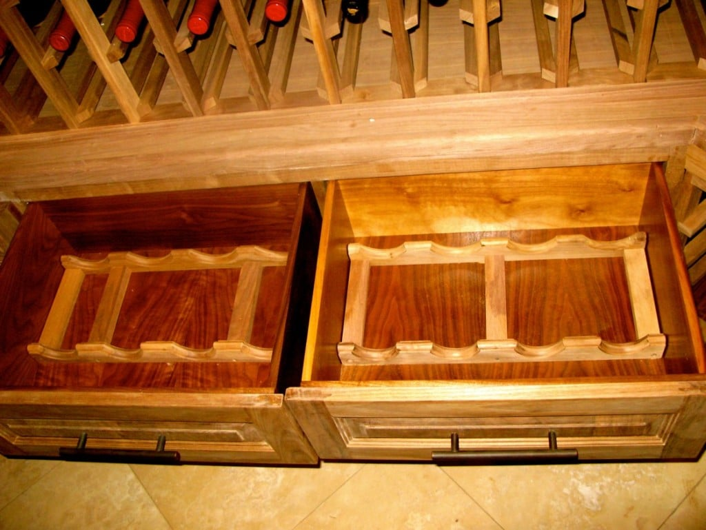 Black walnut wood drawers - racking solutions a pale appearance