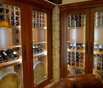 Glass doors for the custom wine cabinets